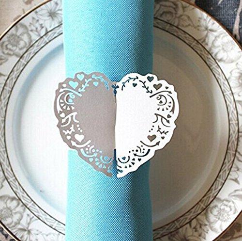 chdekoration Herz Stil Papier Serviette Ring 50(weiß) ()