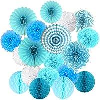 Abanicos de Papel Bola de Nido Pom Poms Ventilador de Papel para Colgar Decoración para Cumpleaños Boda Carnaval Bebé Ducha Home Party Supplies Decoración - Azul