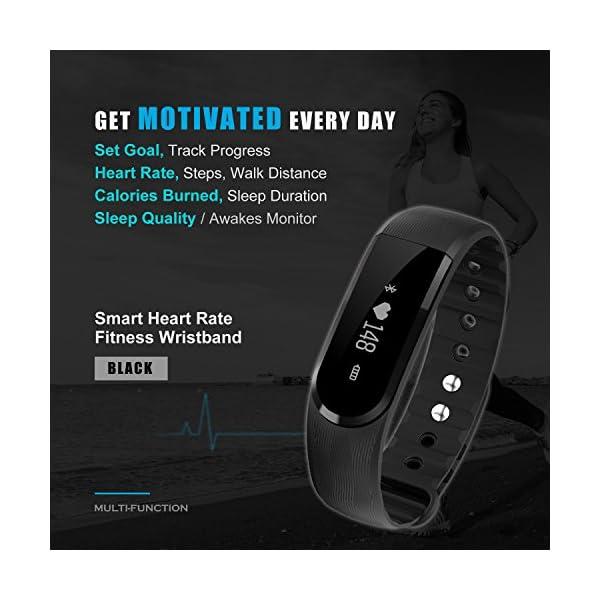 Fitness Tracker, Ritmo cardíaco inteligente actividad pulsera HR podómetro calorías deslizar pantalla táctil de… 4