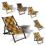 Printalio Wunschtext - Sofa - Liegestuhl Bedruckt Balkon Garten Sonnenliege Relax Holz Terrasse | mit Armlehne, Dunkelbraun