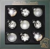 Dekohelden24 Original LAUSCHAER Christbaumschmuck - 9er Set Kugeln, handdekoriert, Satin Silber, 8 cm, mit silbernem Krönchen + 50 Schnellaufhänger in Silber Gratis zu Ihrer Bestellung Dazu !