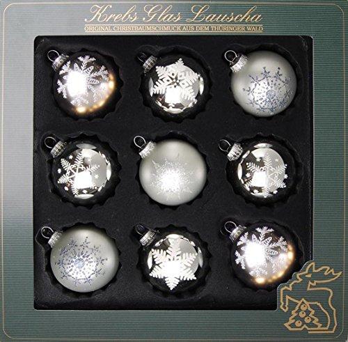 Krebs Glas Lauscha - Glaskugelsortiment 8 cm (Silber)