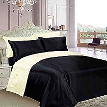 Reversible de lujo king tamaño satén de seda crema/marfil y negro 6piezas Juego de cama funda de edredón, sábana bajera + 4fundas de almohada