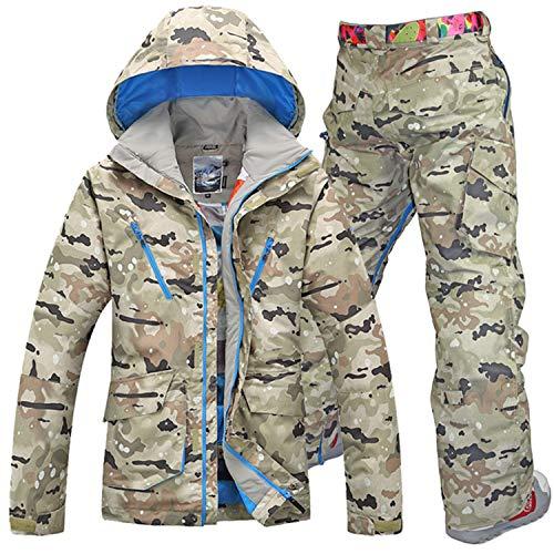 Herren Skianzüge Winter Kälteschutz Warmhalten Bergsteigeranzug Furnier Doppeldecker Ski Jacket Hose, M, Camouflage + Camouflage