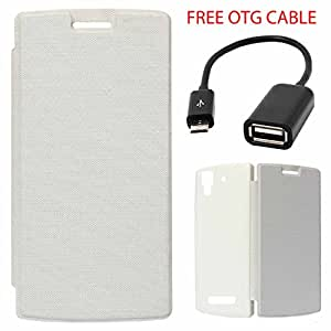 Exclusive Flip Case Cover For Micromax Canvas Hue AQ5000 - White