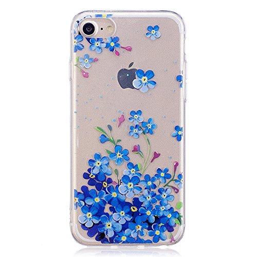 iPhone 7Fall, xinyiyi stoßfest Soft Shell Langlebig kratzfest iphone 7TPU Schutzhülle blaue blume