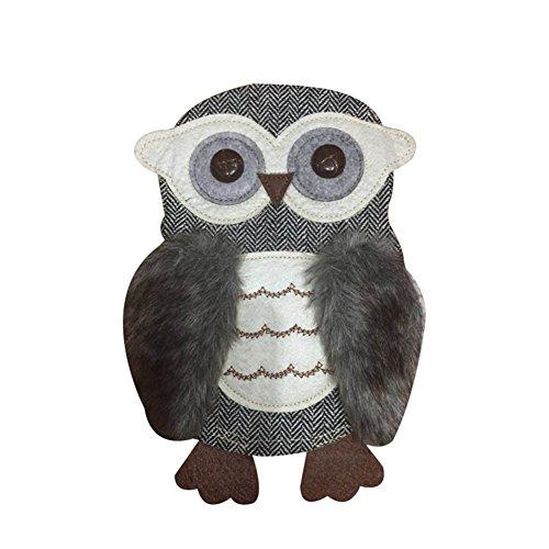 Lumanuby 1x Grau Plüsch Eule Patches für T-Shirt/Jeans/Pullover Stickerei Applikationen Aufnäher von Mode Owl Form, Aufnäher Serie Size 21 * 25.0cm