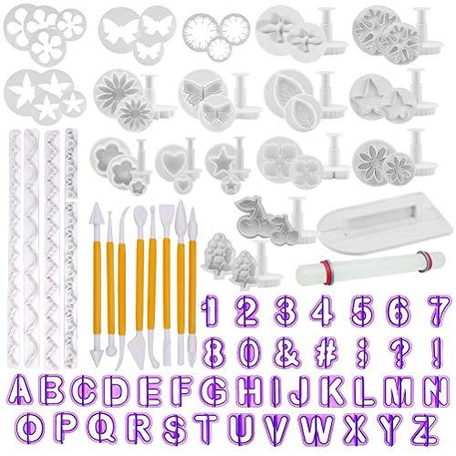 TIMESETL 10 piezas de moldes para herramientas de decoración de pasteles con acabado suave. Los números, letras, flores, figuras, símbolos están TODOS en UNO. ¡Disfruta haciendo un pastel de regalo perfecto con 108 piezas de accesorios para equipos d...