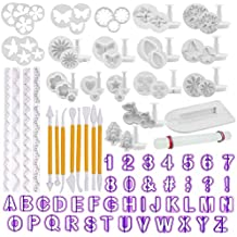 TIMESETL 108Pcs Herramientas de decoración de Pasteles Conjunto de moldes de Caracteres alfanuméricos de Flor de