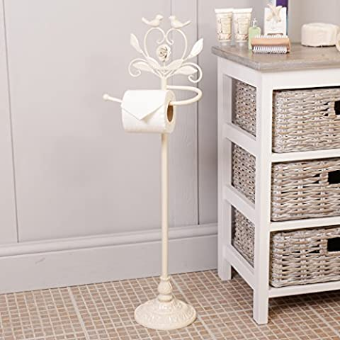 Botanical Ivory Rose and Bird Vintage Style Freestanding Toilet Roll