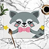 best gift Cartoon Cute Raccoon Tie Stars Animals Wildlife Animal Nature Washable Placemats for Dining Table Double Fabric Printing Polyester Place Mats for Kitchen Table Set of 6 Table Mat 12'x18'