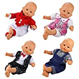 Miunana 4 PCS Fashion Clothes And Pants For 14 -16 Inch New Born Baby Dolls Newborn Dolls