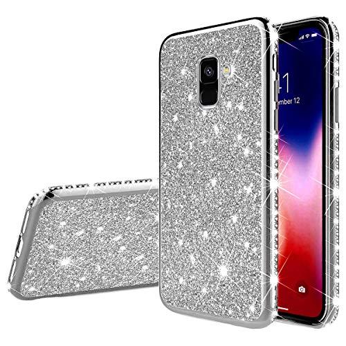 Qjuegad Compatibile con Samsung Galaxy A6 2018 Custodia Ultra Sottile Clear Antiurto TPU Brillantini Glitter Custodia Flessibile Gel Silicone Copertura Protettiva Case Gomma Cover, Argento