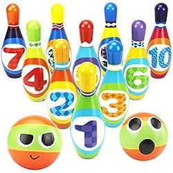 Dreamon Jeux de Quilles 10 quilles et 2 Boules de Bowling Set Plein Air Jouet Enfant Garcon Fille 3 Ans