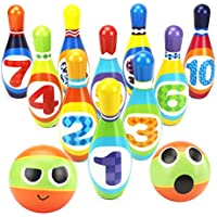 YIMORE Bowling Set Kegelspiel Kegeln Spiel mit 10 Kegel und 2 Bälle für Kinder Interaktiv Spielzeug Drin und Draußen