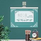 VemMore Kalender 2018 Wandkalender 12 Monate Jan-Dez (Kalender 365 Tage) -  Wandplaner, Familienkalender, Ferientermine & 1 Jahr Planung Happy New Year - Grün Blumen