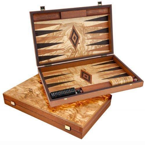 Manopoulos Luxus Olive Wurzelholz Backgammon Set