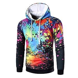 EUZeo Herren 3D Bunt Printed Kapuzensweatshirts Hooded Sweatshirts Langarm Trainingsanzug Hoodies Tunnelzug Kapuzenpullover Tops Pullover Slim Fit