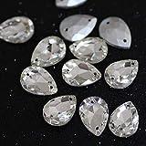 Shoppy Star - Piedras de Cristal con Forma de lágrima para Coser y Decorar Vestidos de Novia, 10 x 14 mm, 30 Unidades