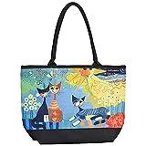 VON LILIENFELD Tasche Damen Handtasche Shopper Henkeltasche bedruckt mit Motiv Kunst Design Katzenmotiv Rosina Wachtmeister: Dolce Vita