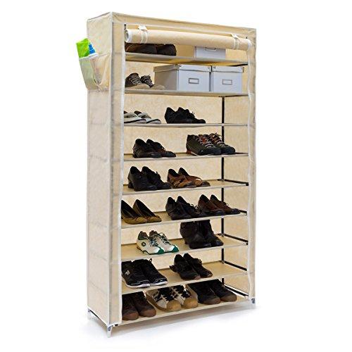 Relaxdays scarpiera valentin 161 x 88 x 30 cm, con rivestimento in stoffa, 10 ripiani scarpiera con chiusura lampo per polvere, supporto per 45 paia di scarpe, 161 x 88 x 30 nero