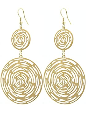2LIVEfor Lange Statement Ohrringe Gold Lang Ornament Ohrhänger Retro Ohrringe sehr lang hängend gold Vintage Groß...