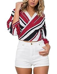 Mujer Camisas Manga Larga Rayas Elegantes Chic V Cuello con Cruzado Anudada Joven Bastante Camisetas Blusa