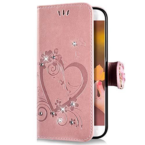 Uposao Kompatibel mit Samsung Galaxy J5 2017 Handyhülle Schmetterling Liebe Blumen Muster Luxus Glitzer Diamant Bling Schutzhülle Flip Case Cover Brieftasche Klapphülle Leder Hülle,Rose Gold