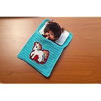 Puppenbettchen - Schlafsack für Monchichi 20 cm oder kleine Puppen Regenbogen Einhorn