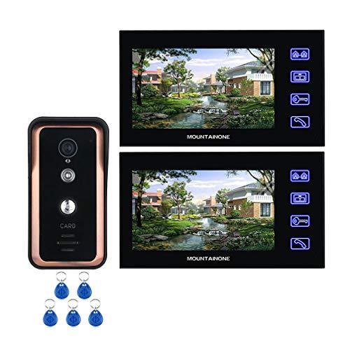 WJ Video Intercom Türsprechanlage, Wohnung/Familie 7 Zoll Touch Button 2 Monitor IR Nachtsicht HD 1000TVL Türklingel-Kamera Mit RFID-Karte Button-kamera-kit