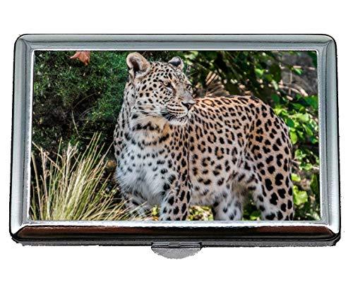 Portasigarette, leopardo, leopardo persiano, ritratto porta biglietti da visita da uomo