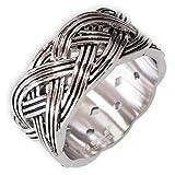 Fly Style Herren Damen Band-Ring Keltischer Knoten breit Edelstahl 17,2-23,9 mm silber risst059, Ring Grösse:23.9 mm