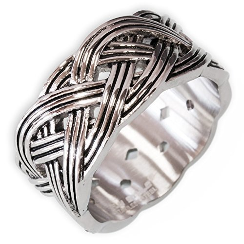 Fly Style Herren Damen Band-Ring Keltischer Knoten breit Edelstahl 17,2-23,9 mm silber risst059, Ring Grösse:17.2 mm - Band-ringe Silber Breites