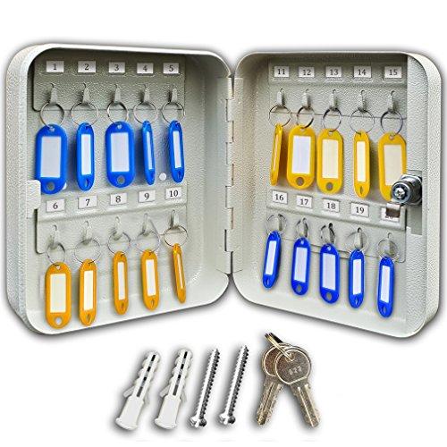 Futura® 20 Schlüsselkasten mit 20 Haken - für die Wandmontage - aus Stahl - mit 20 Schlüsselanhängern - ideal für zuhause & das Büro - Maße: 200 x 160 x 70mm