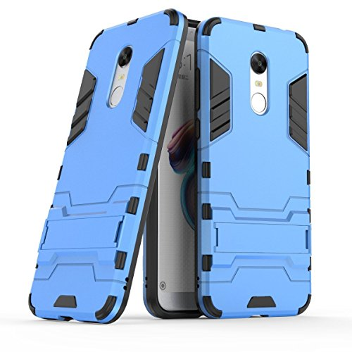 Case for Xiaomi redmi 5 Plus (5,99 inches) 2 in 1 Rugged Hybrid Armor Case Shock Absorption Layer Protection Dual Bumper Case with Kickstand (blue)
