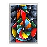 Bild auf Leinwand Canvas–Gerahmt–fertig zum Aufhängen–Gitarre Musik–Kubismus–Picasso Style Dimensione: 70x100cm C - Colore Bianco Contemporaneo