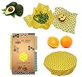 MILESCAPED Bee Wrap - Lot de 4 Emballages Alimentaires de Cire d'abeille Écologique (1 Petit, 1 Moyen, 1 Grand, 1 Très Grand) Réutilisable - Produit Naturel et sans Plastique - Zéro Déchet