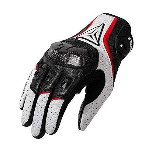 Spandex-rennen (FL charm Motorradhandschuhe für Offroad-Rennen im Freien, rutschfeste, berührbare Allround-Handschuhe,White,L)