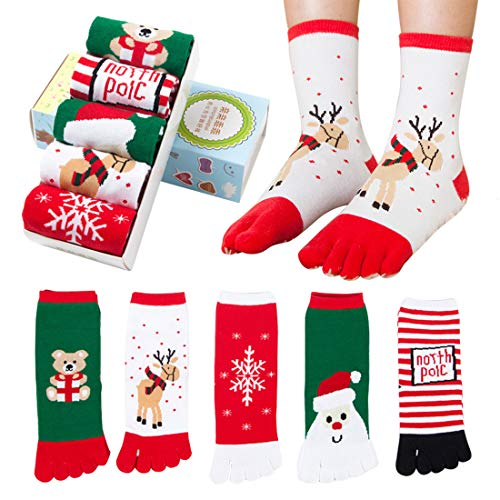 Fineinno 5 paia calzini natalizi christmas toe socks fivefingers calzini cinque dita calze regali natale fit uomo donna,famiglia,amico,bambino (5 paia adulto)