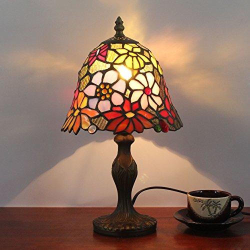 HDO 8 Zoll kleine Blumen-Hirten-antike Tiffany-Art-handgemachte Glas-Tabellen-Lampe Nachttisch-Raum-Kinderlicht (Tiffany Blumen-art-glas)