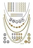 (Modell 23) 100 Modelle Zur Expand Flash-Metall Tätowieren Sticker-Temporären Körper-Aufkleber Gold-Goldarmband Schmuck - Metall-Tätowierung-Aufkleber-Blatt - Metal Metal