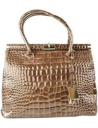 Dream Leather Bags Made in Italy Cuir Véritable Sac à Main En Cuir Véritable Couleur Rose Champagne - Maroquinerie Fait En Italie - Sac Femme