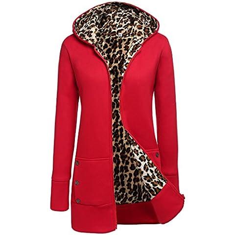 Meaneor signore giacca invernale giacca con cappuccio cappotto invernale giacca trapuntata con cappuccio maglione lungo (Signore Fleece Parka)