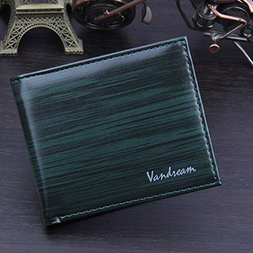 JERFER Männer Bifold Geschäfts-Leder-Mappe Identifikation-Kreditkarte-Halter-Geldbeutel-Taschen Grün