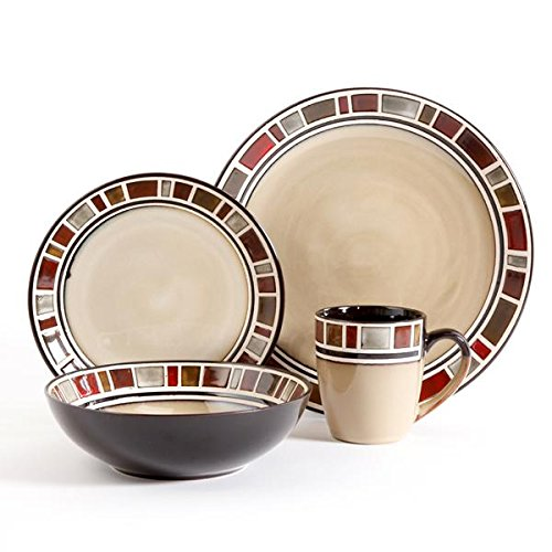 Gibson Elite 92918.16RM Cimarron Red 16 Piece Reactive Glaze Dinnerware Set, Cream/Red Soho White Bowl