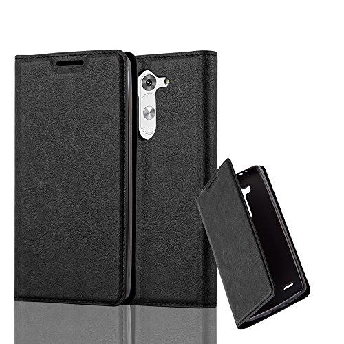 Cadorabo Hülle für LG G3 Mini / G3 S - Hülle in Nacht SCHWARZ – Handyhülle mit Magnetverschluss, Standfunktion und Kartenfach - Case Cover Schutzhülle Etui Tasche Book Klapp Style