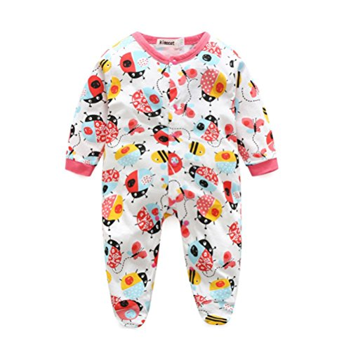 Longra Infant Filles Vêtements Impression de Bande Dessinée Mamelon Combinaison Tenues(0-2 ans) (3M/66, Rouge)