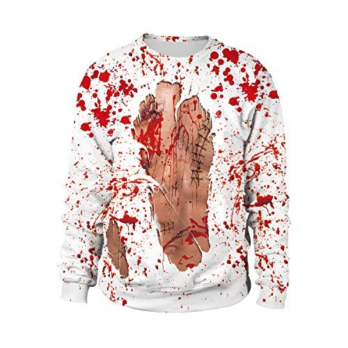 Baige Unisex 3D-Digitaldruck Lose Paar Pullover Langarm-Rundhalspullover Halloween-Kostüme Lose