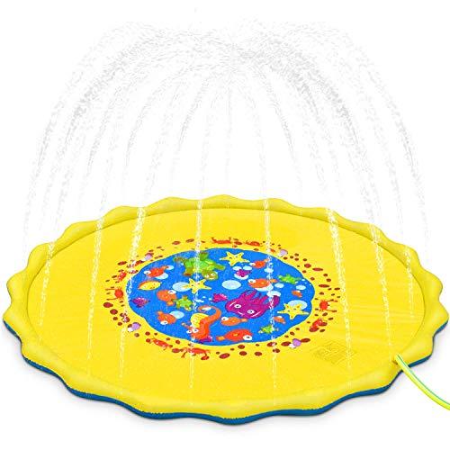 GKPLY Outdoor-Kinderspielwasser-Spielmatte - Sommerspaß Rasen Strandgarten Spiel Sprinkler Pad für Baby und Kinder Spiel Sprinkler Kissen,M