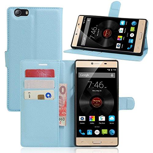 Tasche für Elephone M2 Hülle, Ycloud PU Ledertasche Flip Cover Wallet Case Handyhülle mit Stand Function Credit Card Slots Bookstyle Purse Design blau